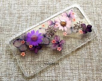 Genuine pressed dried flower Samsung / iphone case - crystal clear hard case