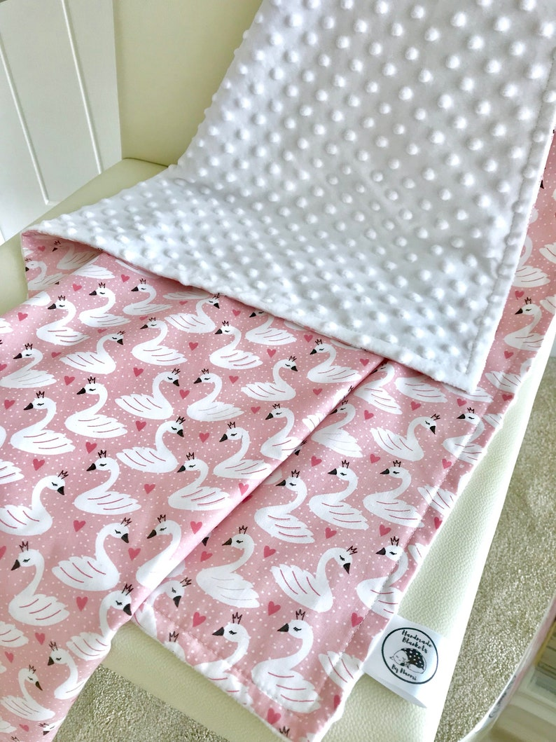 3599c2186d Swan minky blanket Swan baby blanket White minky Pink heart