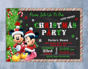 mickey mouse christmas invitation mickey and minnie new year party invite christmas holiday birthday printable personalized jpeg - Mickey Mouse Christmas House Decorations