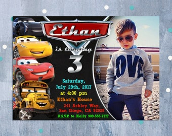Cars 3 Invitation Birthday Disney Party Lightning McQueen Personalized JPEG