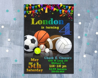 sports theme invite etsy