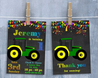 Tractor Invitation John Deere Invite Boys Birthday Invitations With Free Thank You Card Personalized JPEG