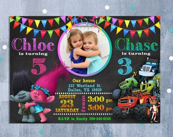 Invitations etsy nz sibling birthday invitation double birthday invitation dual combined twins birthday invitation custom invitation personalized jpeg stopboris Choice Image