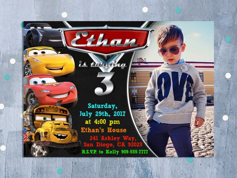 Cars 3 Invitation Birthday Disney