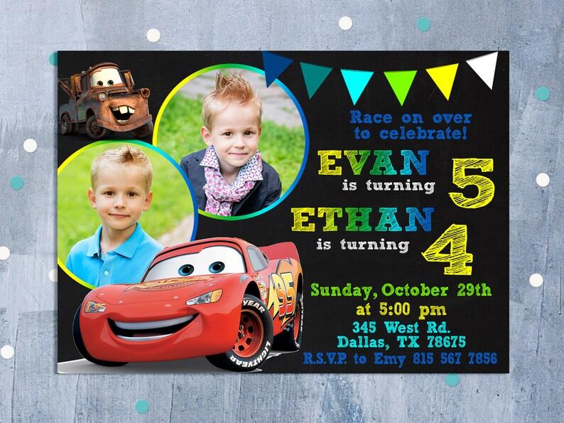 Cars Invitation Sibling Birthday