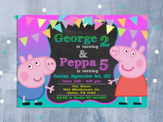 Peppa Pig Sibling Invitation, Peppa Pig Joint Birthday Party, Peppa George  Pig Dual Invite with Free Thank You Card, Personalized JPEG