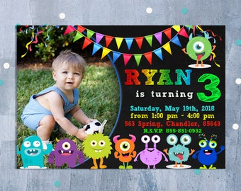 Little Monster Birthday Invitation, Monster Invitation, Monster Birthday Invitation, Monster Birthday Party Invite, Personalized JPEG