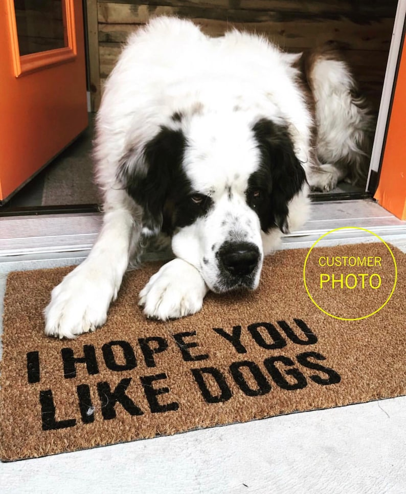 I Hope You Like Dogs Doormat  Funny Mat  Dog Doormat  Dog image 0