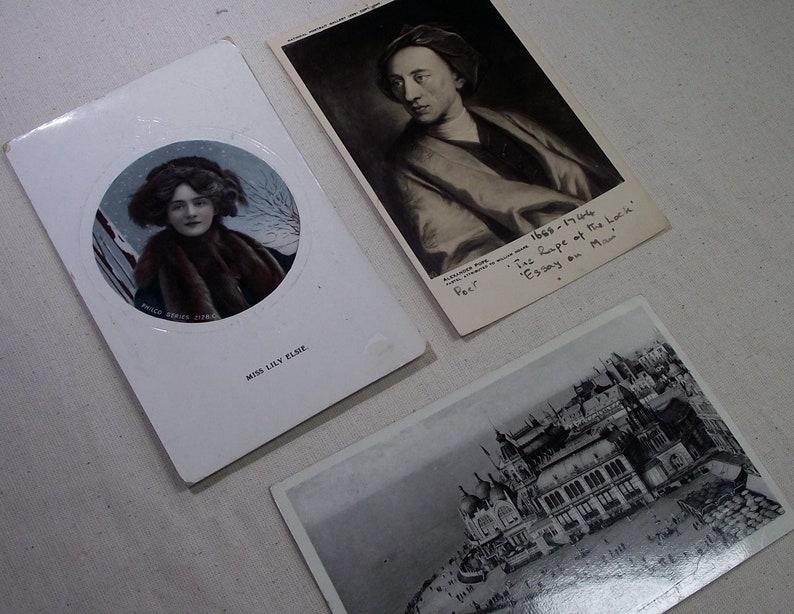 vintage postcards, old postcards, vintage ephemera, Lily Elsie postcard,  Alexander Pope postcard,black and white, POSTCARDS,vintage papers,