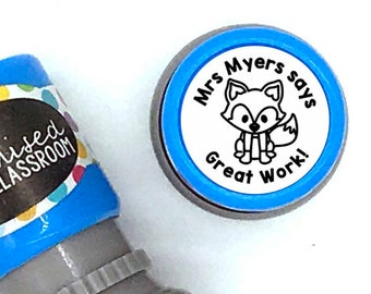 Personalised Teacher Stamp - Fox Stamp