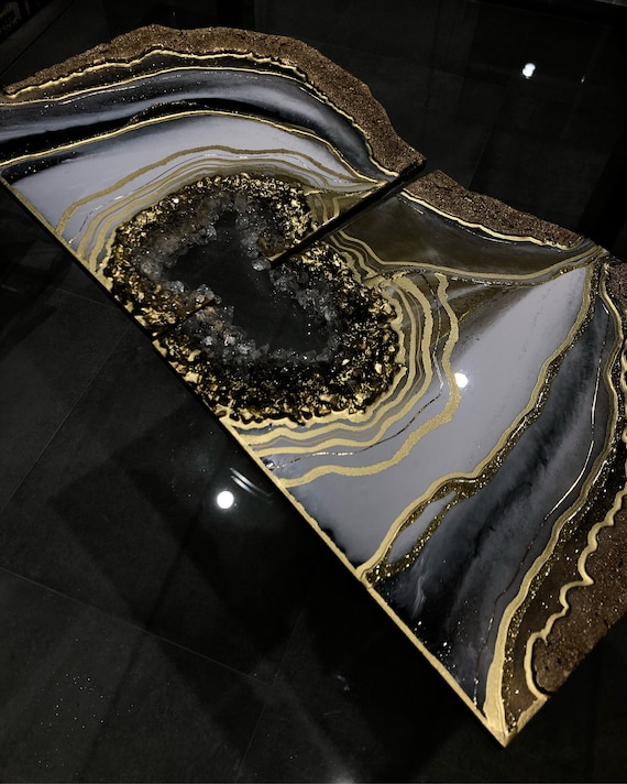 geode Black, White and Gold