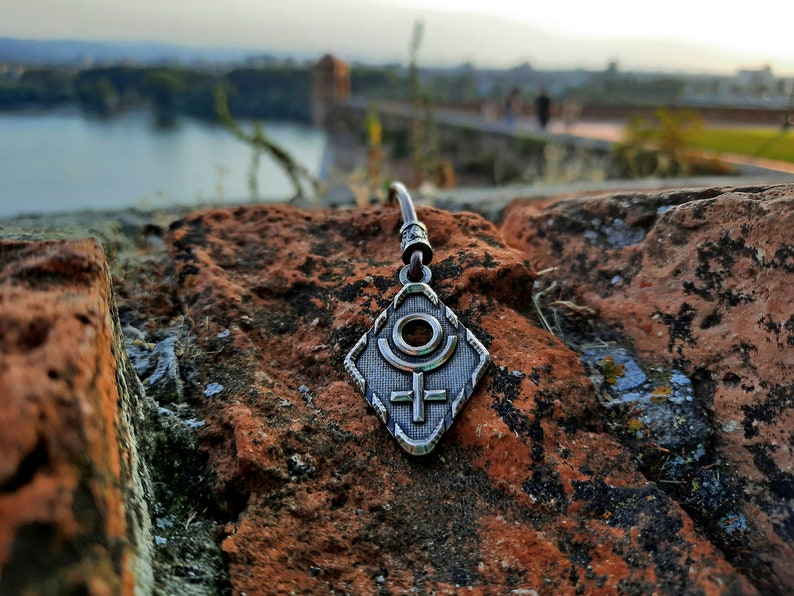 Planetary glyph Pluto/'s necklace.Astrological symbol jewelry,Pluto planet sign pendant,circle and Cross symbol.ruler of Scorpio and Aries