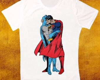 Batman superman kissing gay pride LGBT tshirt