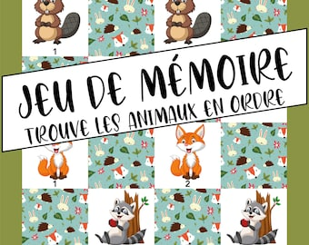 Memory game - Find maps in order - Forest Animals