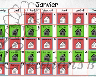 Timetable illustrated for children and family separated, Visual