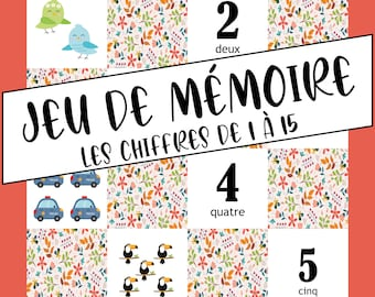 Memory game Numbers from 1 to 15