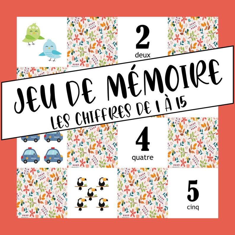 Memory game Numbers from 1 to 15 image 0