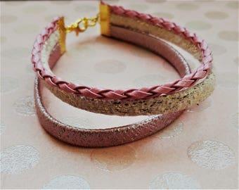Bracelet imitation leather three rows.