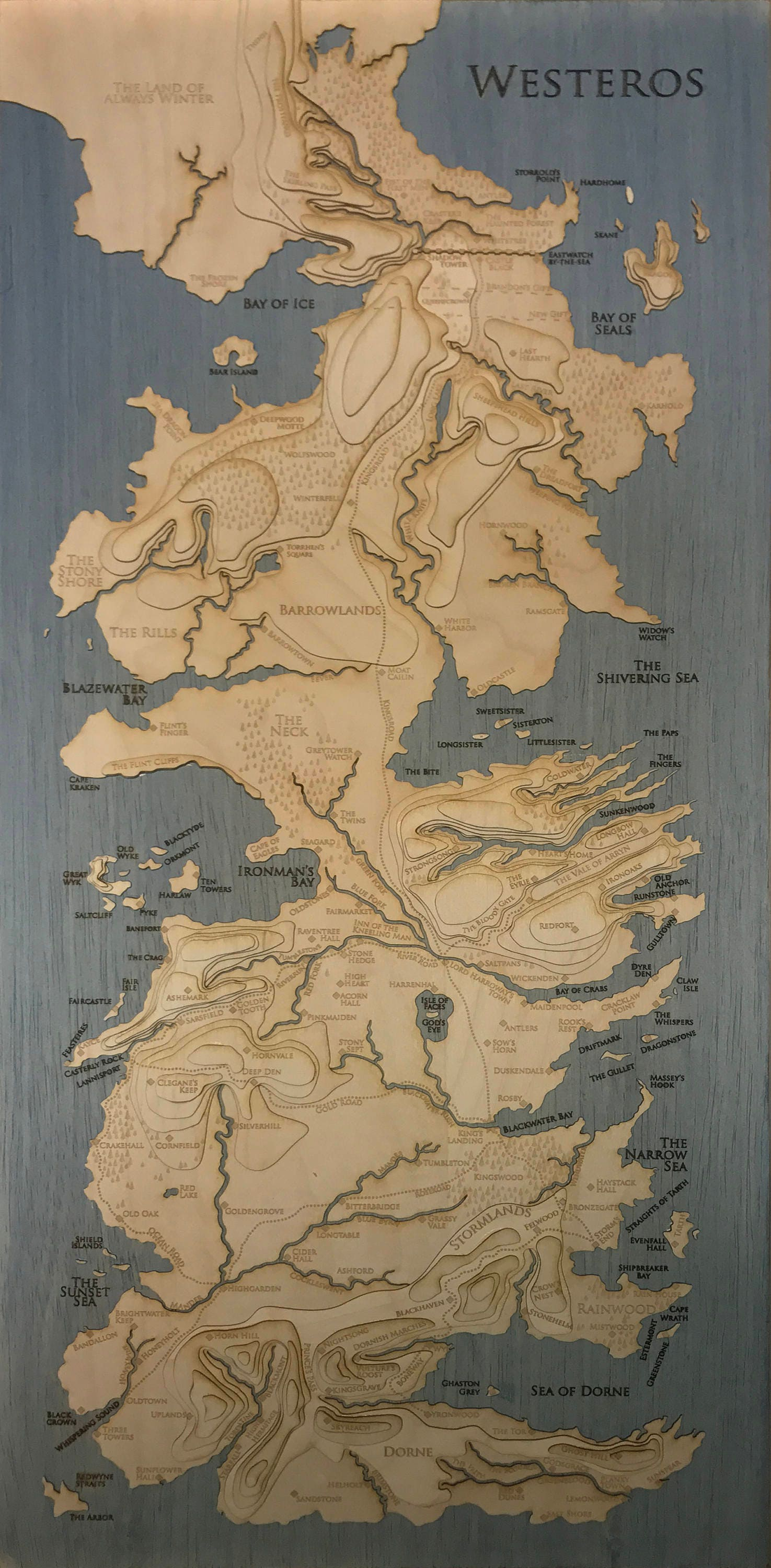 Topographic Map Of Westeros Game Of Thrones 12 X Etsy
