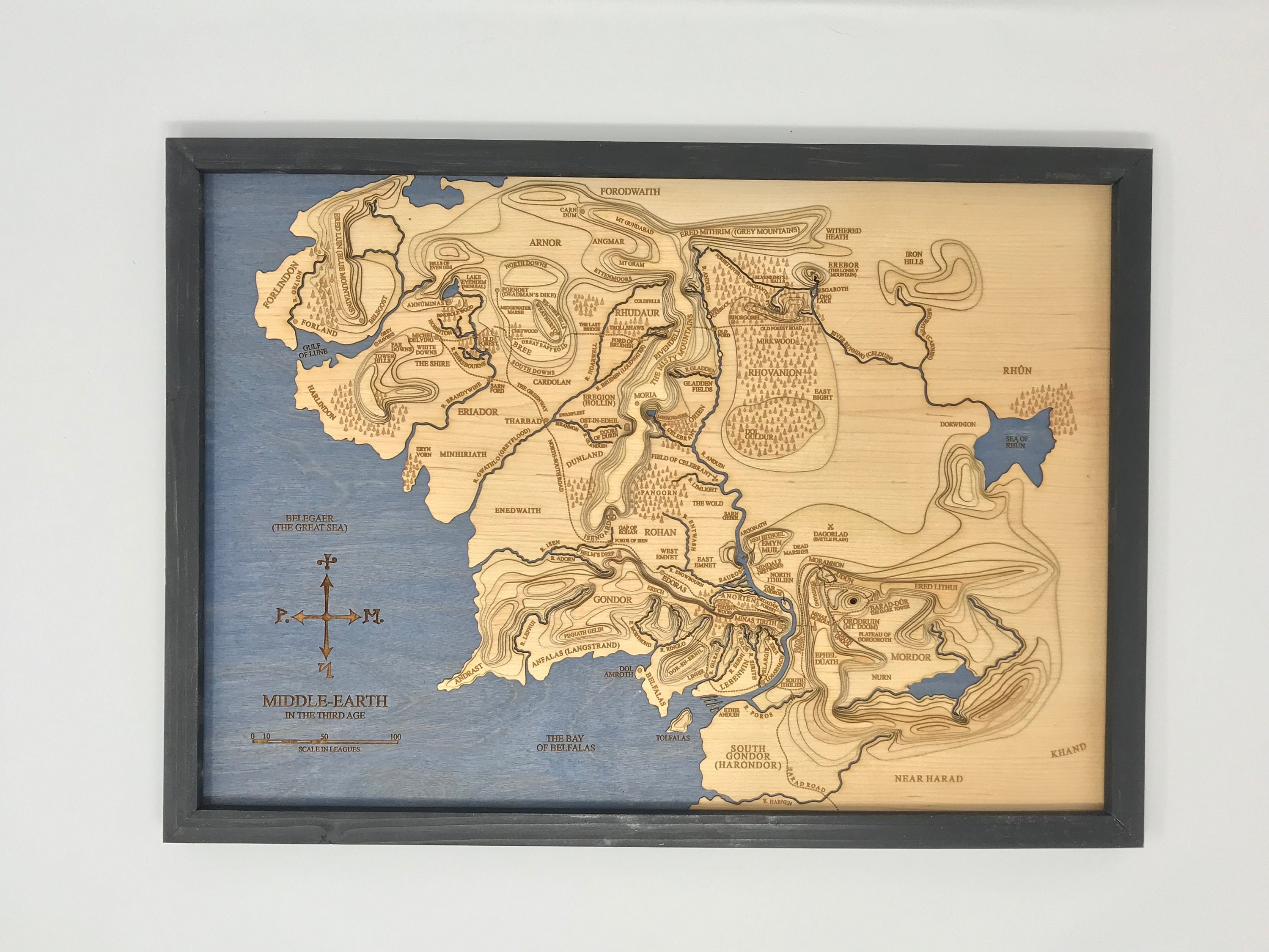 Topographic Map of Middle Earth The Lord of the Rings | Etsy