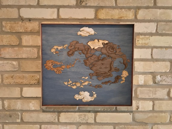 Avatar the Last Airbender Laser Cut Topographic Map of the | Etsy