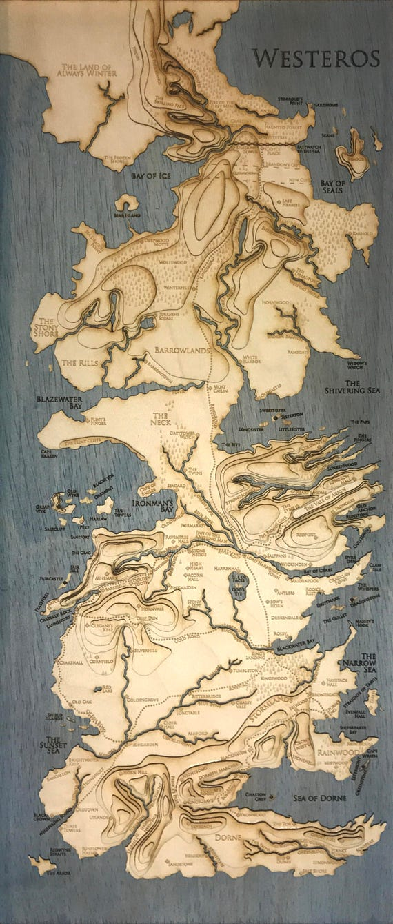 Topographic Map Game.Topographic Map Of Westeros Game Of Thrones 8 5 X Etsy