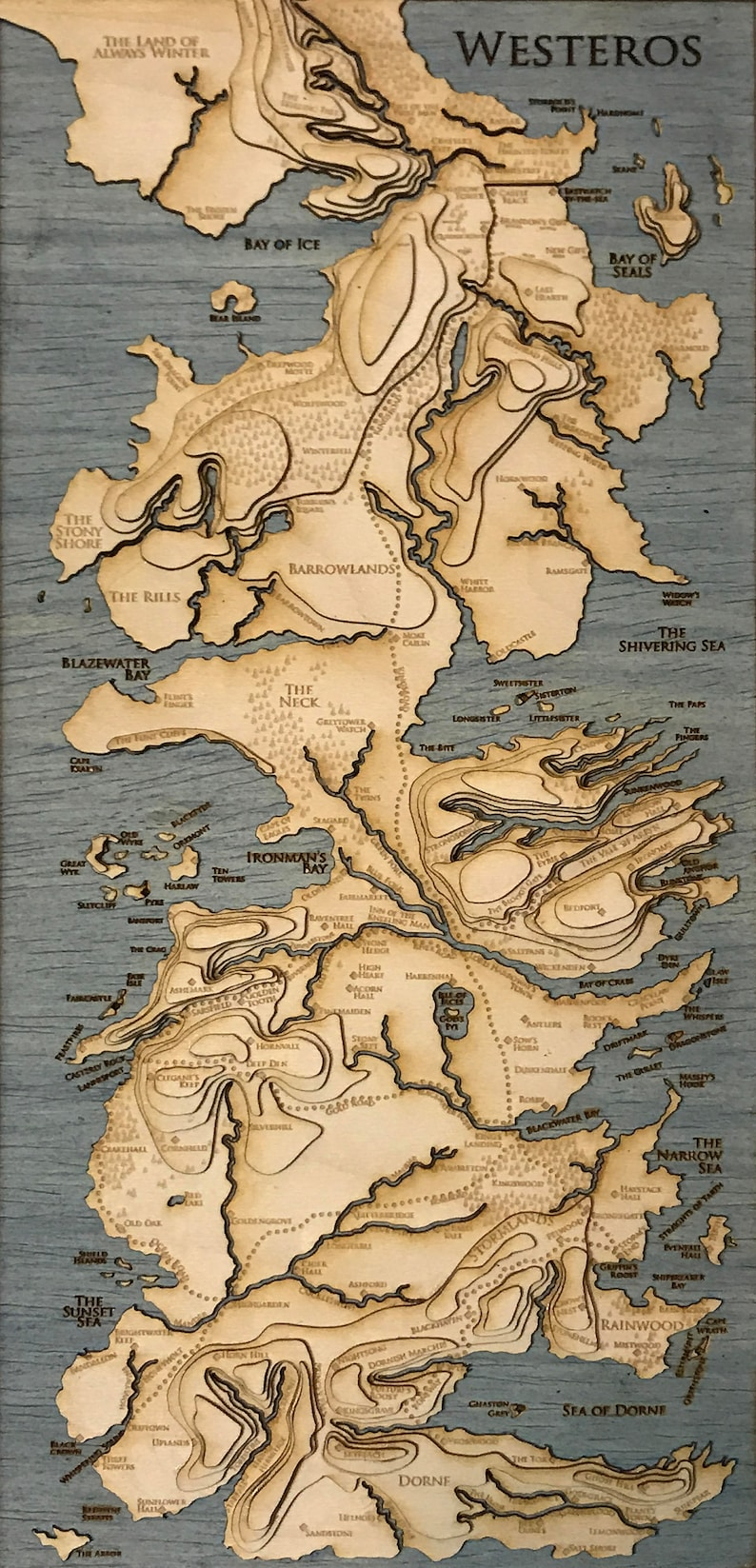 Topographic Map Game.Topographic Map Of Westeros Game Of Thrones 5 5 X Etsy