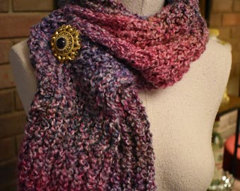 "Hand Knit 'Soft Heather' Lavender, Pink, Gray Serenity Scarf 66"" long"