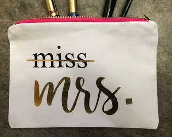 Miss to Mrs. Make-Up Bag, Bridal Make-up Bag, Bride Make-up Bag