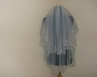 Ivory 2 Tier Silver/Rhinestone/Pearl Beaded Wedding Veil
