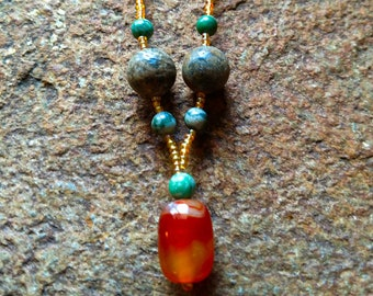 Orange Sardonyx, Jade & Jasper Necklace