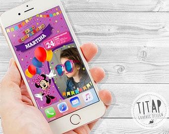 Minnie Birthday Invitation-WHATSAPP Birthday Invitation-Digital Invitation