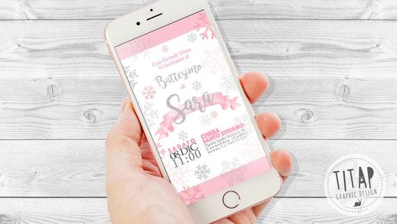 Digitalen Einladung Whatsapp Für Taufe Digitale Einladung Schneeflocken Winter Einladung Einladung Whatsapp Glitzer