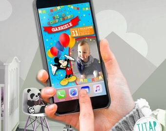Mickey mouse Birthday Invitation-WHATSAPP Birthday Invitation-Digital Invitation
