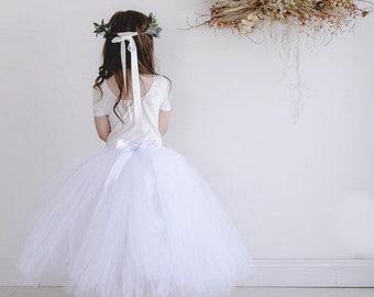 Flowergirl Tutu, tutu, white tutu, ankle tutu, calf length tutu, tea length tutu