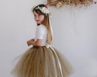 Flowergirl Tutu, tutu,Latte tutu, ankle tutu, calf length tutu, tea length tutu