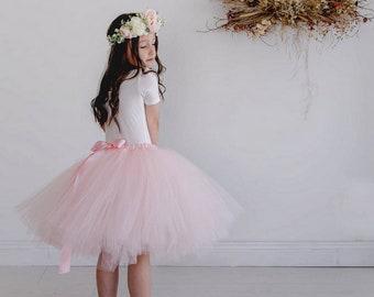 Flowergirl Tutu, tutu, Blush pink tutu, ankle tutu, calf length tutu, tea length tutu