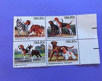 Vintage dog stamps, US 1984 20c