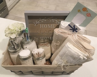 Housewarming gift basket etsy closing basket housewarming basket wedding gift bathroom decor mason jar farmhouse welcome home housewarming gift negle Gallery