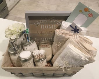 Closing Basket - Housewarming Basket - Wedding Gift - Bathroom Decor - Mason Jar - Farmhouse - Welcome Home - Housewarming Gift
