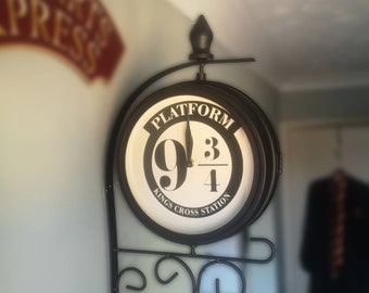 platform 9 3/4 dual faced wall clock, outdoor or indoor use. harry potter inspired gift hand customised to order