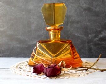 Vintage Perfume Bottle Brown Glass