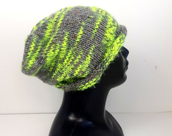883cefe434af1 Crochet green slouchy hat Teen knit hat Neon green beanie hat Autumn  accessories Fall Fashion Women Slouchy Eco clothing Christmas Gift