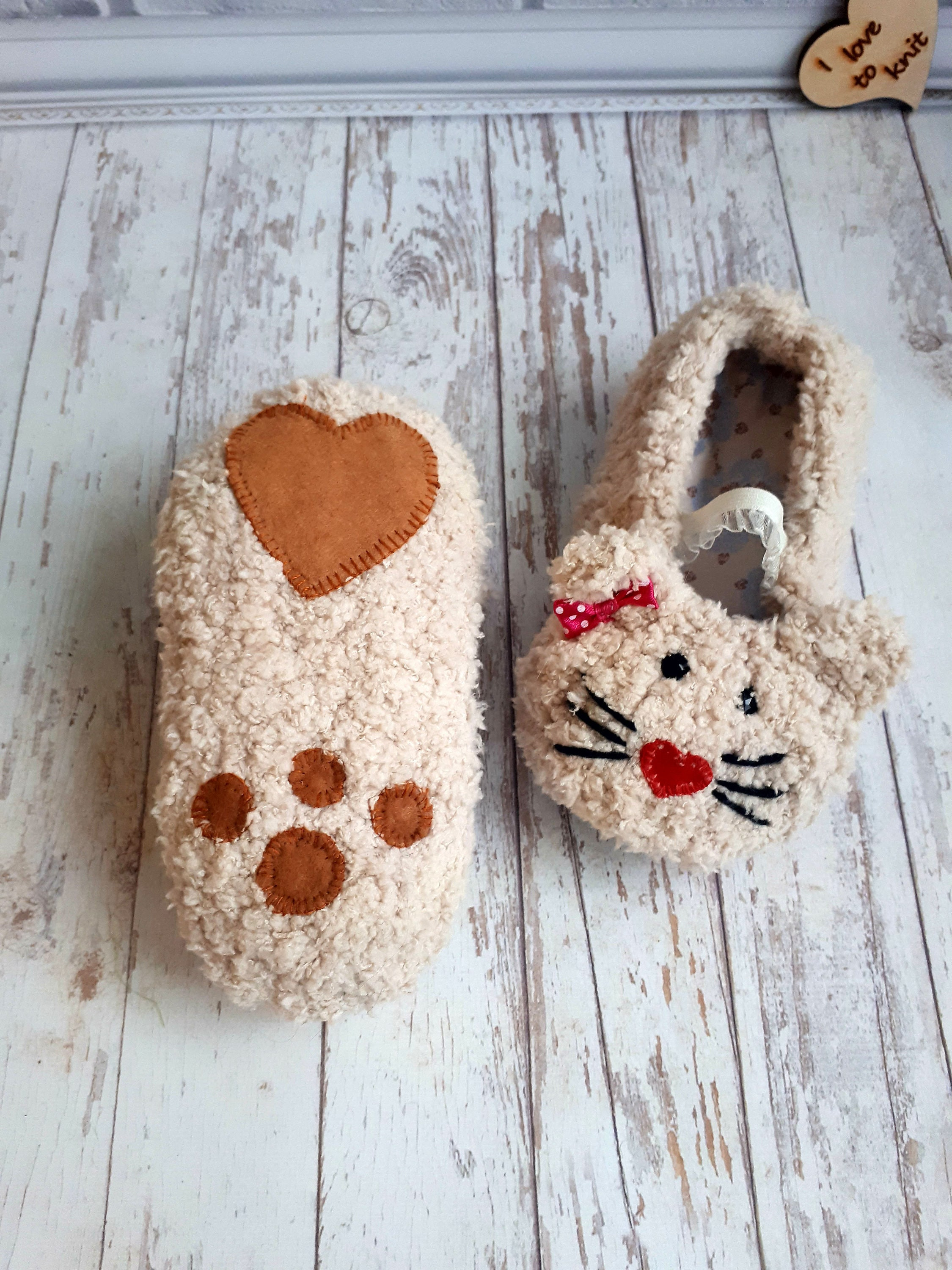 Children Eco Friendly Slippers With Heart Puffer Knit Crochet Etsy