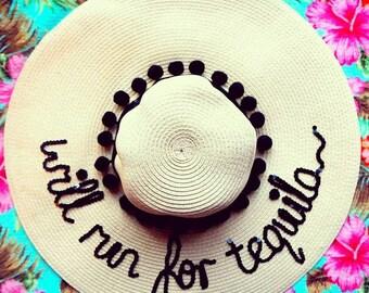 will run for tequila slogan hat, beach hat, custom hat