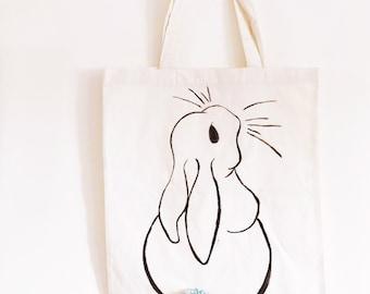 Bunny rabbit - cotton tote bag