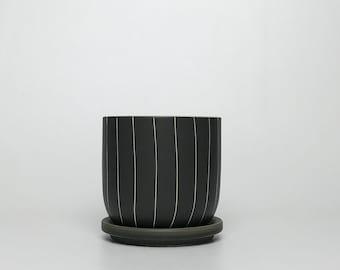 Matte Charcoal Ceramic Planter w/ Attached Drain Dish