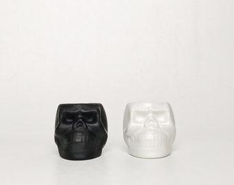 Matte Skull Succulent / Small Planters - Black or White
