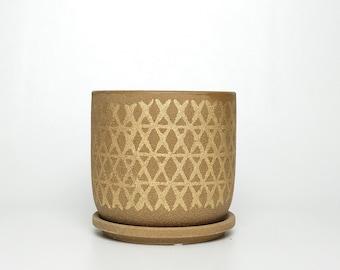 Textured Planter w/ Gold Design & Attached Drain Dish - 2 sizes