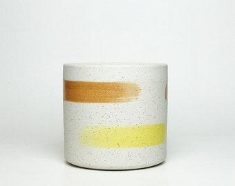 Textured Ceramic Planter w/ Speckled Brushstroke Design - 2 sizes
